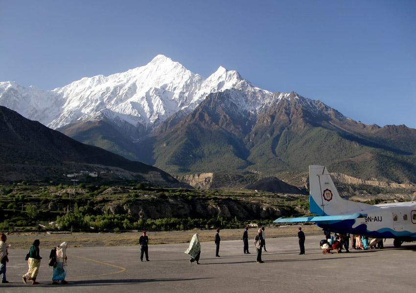 Jomso Airport with the view of Mount Nilgiri