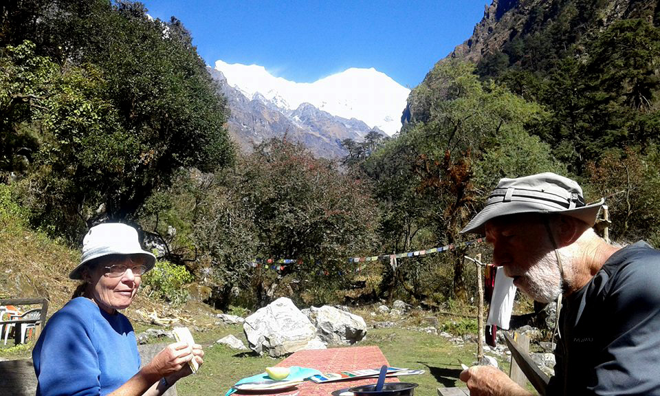 Trekkers in Langtang valley