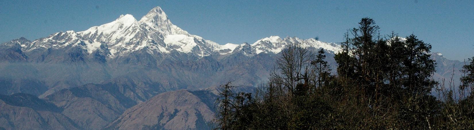 HImalayan Range seen from Phulkharka village after Hiking