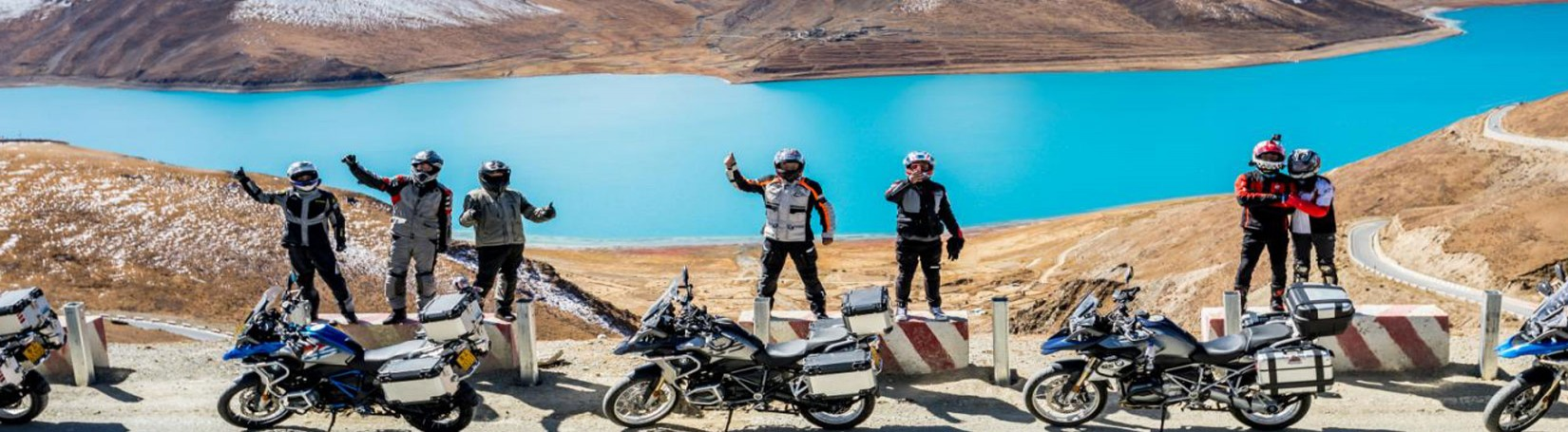BMW bikes are near at Yamdrok Lake during Lhasa EBC Motor Biking
