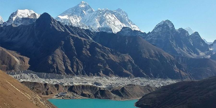 Trekking in Nepal Himalayas in the area of most beautiful lakes at high altitude
