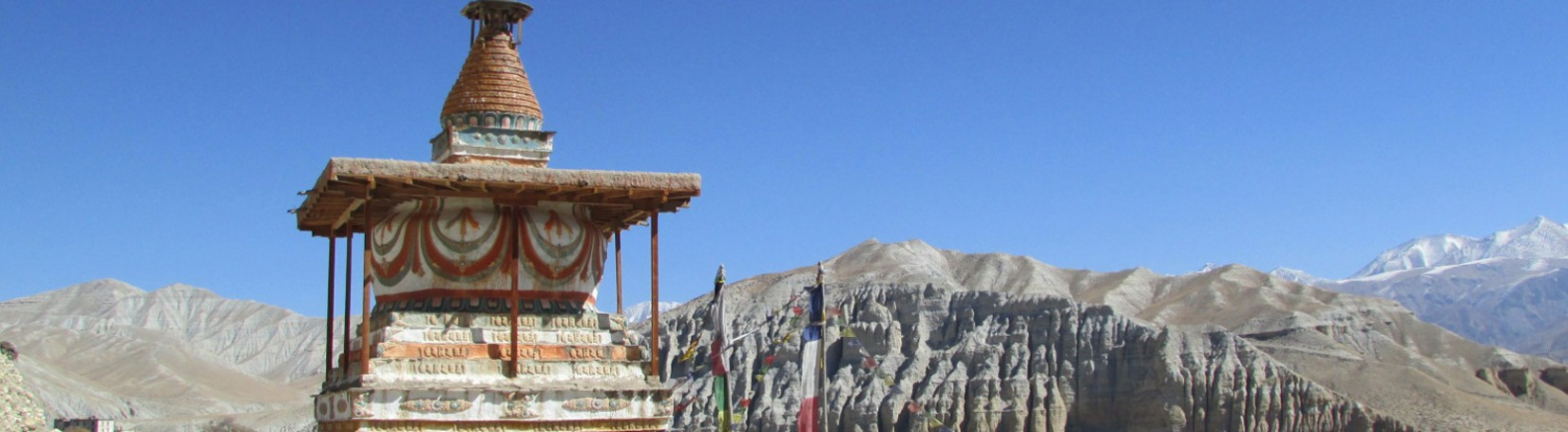 Old Monastery and scenic landscape in Upper Mustang