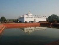view of Maya Devi temple and Pond