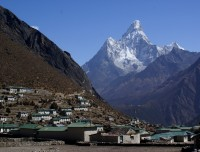 Khujung Village and view of Ama Dablam