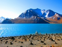 Beautiful Lake and snow capped on the way driving Lhasa Kailash