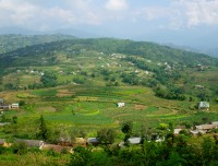 Scenic filed view from on the way trekking