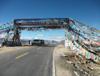 Decorative high passes on the way in Tibet