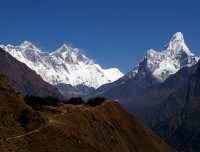 Everest and Amadablam view from Everest View third day of trek