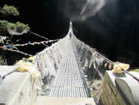 Suspension bridge on the way trekking