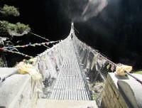 Suspension bridge on the way trekking