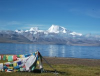 Beautiful lakes and Himalayas in Tibet