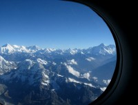 Mount view from window during mountain flight